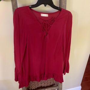 Altar'd State red chiffon top